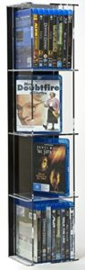 CD Regal Acryl | CD Turm | 4 x Fächer | bietet Platz für bis zu 39 BDs in regulären Hüllen |