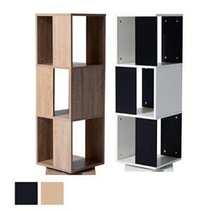 CD Turm | CD Regal Schwarz | 3 x Fächer |Schwarz  | Weiß