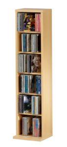 DVD Aufbewahrung | Schrank 20 cm Tief | 5 x variable Einlegeböden | Für 102 CDs oder 36 DVDs oder 20 Videos | Buche